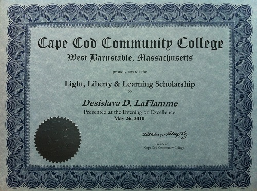 Light, Liberty and Learning Scholarship Certificate