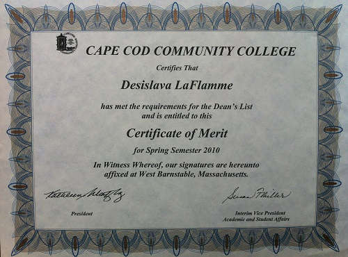 Certificate of Merit - Spring 2010