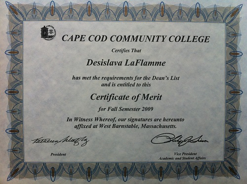 Certificate of Merit - September 2009