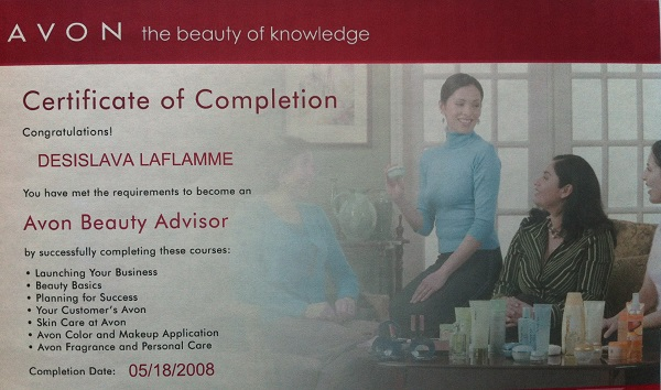 Avon Beauty Advisor Certificate