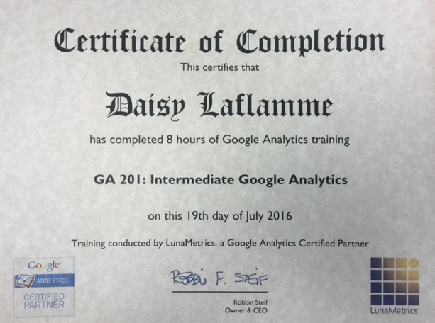 image of the certificate Google Analytics Intermediate 201